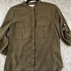 H&M olive buttons blouse size 8